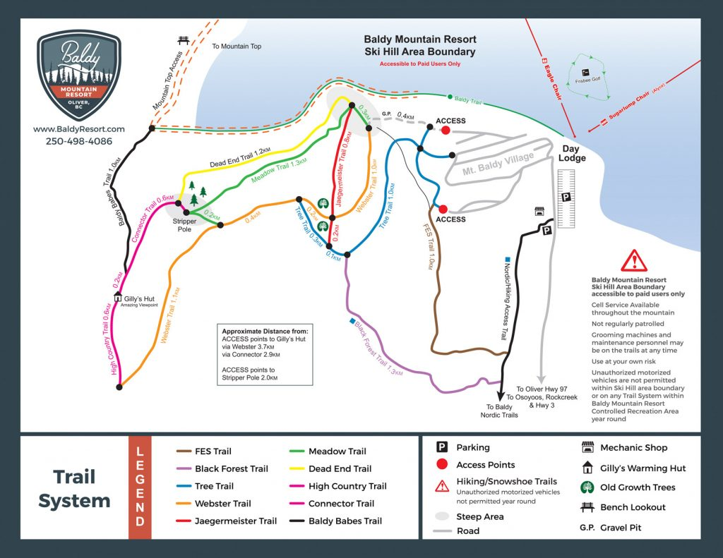 Mt Baldy Cross Country and Hiking Map